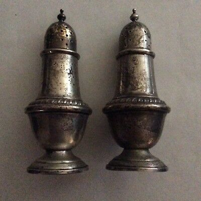 Alvin Sterling Silver Salt & Pepper Shakers Gold Wash Top S238