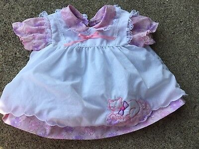 Newborn Pink And Purple Floral Dress W/ Removable Cat Pinafore 80s Vtg Vintage