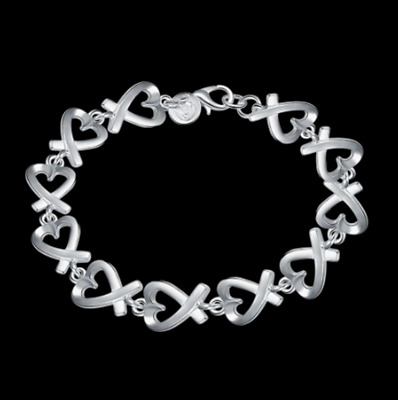 Womens 925 Sterling Silver Loving Heart Link Chain Charm Bangle Bracelet #BR431