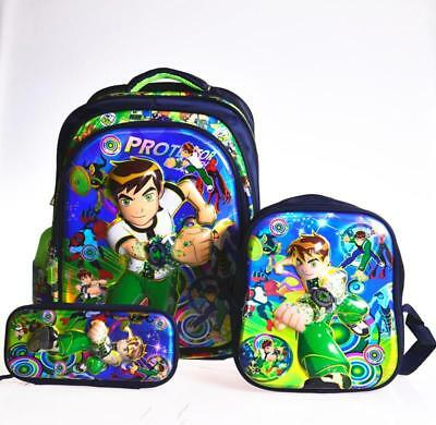 "16"" Ben10 Ben 10  3PCS Set Boys Children Backpack+Lunch Box+Pencil  Rucksack"