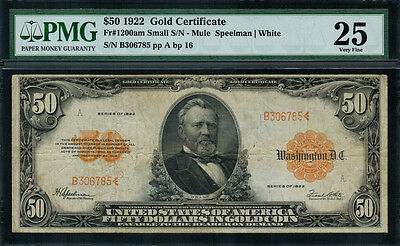 1922 $50 Gold Certificate FR-1200am - Mule - Small S/N - Graded PMG 25 Very Fine