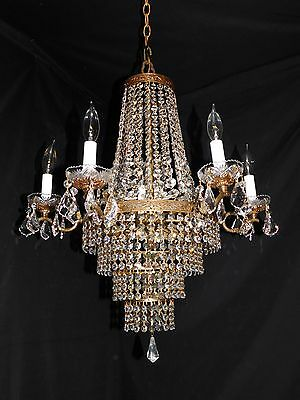Antique LARGE  brass crystal Empire chandelier 11 lights, quality crystals