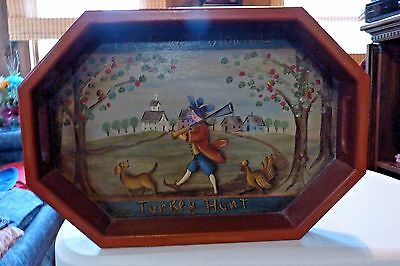 "Hand Painted Vintage Wooden Serving Tray ""the Great Colonial Turkey Hunt"""