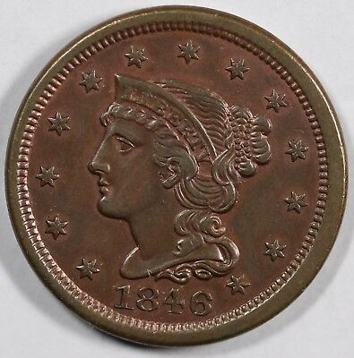 1846 1c Braided Hair Large Cent UNSLABBED CLEANED