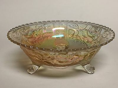 Imperial Rose Carnival Glass Luster 3 Footed Bowl Scalloped Rim
