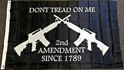 3x5 Dont Tread on Me Second Amendment M4 Rifle Flag Polyester Protest Banner Gun