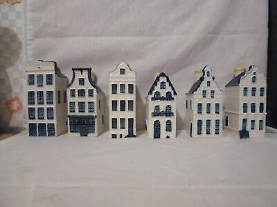 Delft Pottery Houses Made For Klm By Bols X 6, Numbers 18,23,25,45,47,58