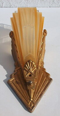 Vintage 20s Art Deco VIRDEN Amber Glass Slip Shade Cast Iron Wall Sconce