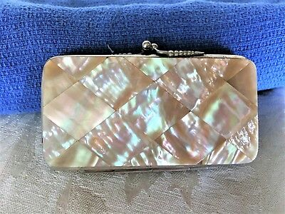 Antique Mother of Pearl Coin Purse with Leather Interior - Sweet!