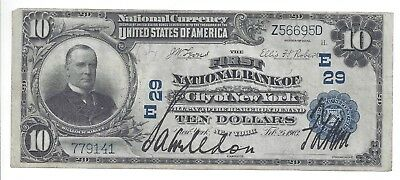 1902 Plain Back First National Bank of the City of New York Charter 29