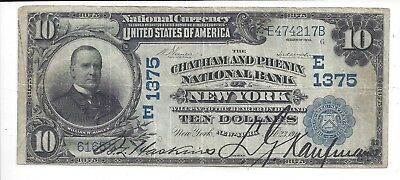 1902 Date Back $10 Chatham and Phenix National Bank of New York Ch 1375