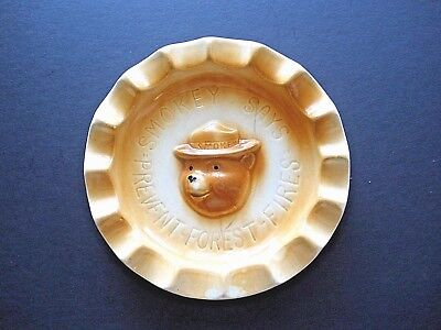 Vintage Smokey Bear American Bisque Ceramic Ashtray