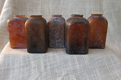 Vintage brown glass snuff bottles
