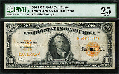 1922 $10 Gold Certificate FR-1173 - Graded PMG 25 - Very Fine