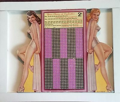 Old 2 cent Punch Board Girlie Gambling Very Rare Win Cigarettes