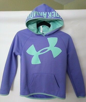 Under Armour Girls Hoodie Pullover Logo Purple Green Size Young Medium   1079