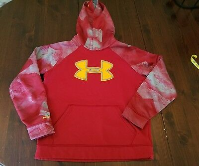 Under Armour Youth Large UA Big Logo Armour Fleece Loose Hoodie Red Gray