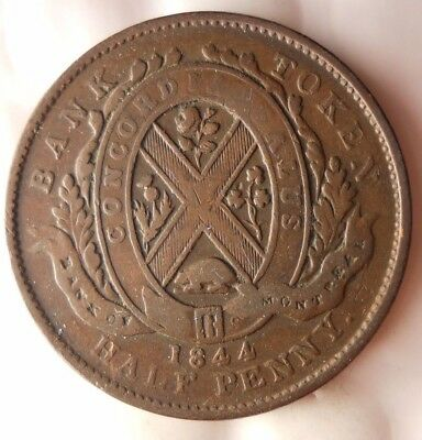 1844 CANADA (BANK OF MONTREAL) 1/2 PENNY - Excellent Scarce Coin - Lot 919