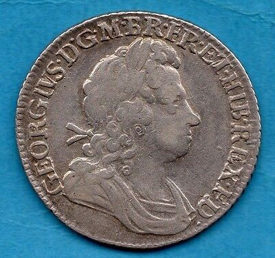 1723 Silver Shilling Coin. King George I.  1/-  Ssc In Angles