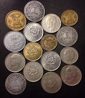 Old Morocco Coin Lot - 1950-Present - 16 Uncommon Coins - Lot #919