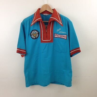 RARE Vtg 1960s Cobre Firestone Chain Stitch Bowling Shirt - Sz Large - USA
