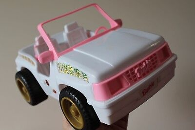 """BARBIE White Pink 12"""" BEACH CRUISER BUGGY 4x4 JEEP Mattel 1994 Car Toy (Used)"""