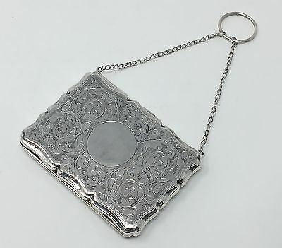 Victorian English STERLING PURSE Card Money case w/ Chain and ring WB Ltd. 1909