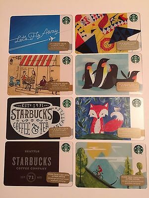 Set of 8 Starbucks Collectible Gift Cards - NEW - Unused - Free US Shipping