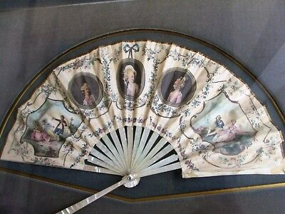 Antique 18th Century French Silk Hand Painted Lady's Fan Royal Portraits MOP