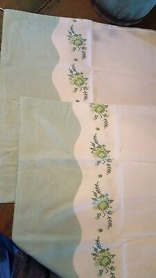 2 Vintage Printed Flour Feed Sacks, Quilt, Fabric, Material, Green & White