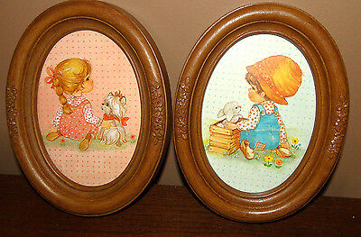 VINTAGE Set (2) HOMCO OVAL FRAME PICTURE Boy/Girl Precious Moments? Marilyn RARE