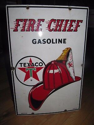 original 1961 Fire Chief Gasoline porcelain Sign