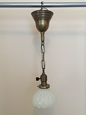 "18"" Brass Pendant Light Fixture With Heavy Antique Globe Newly Wired Hubbell"