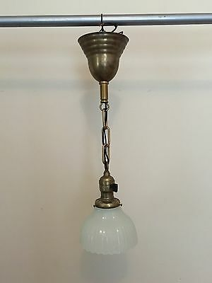 "19"" Brass Pendant Light Fixture With Heavy Antique Globe Newly Wired Hubbell"