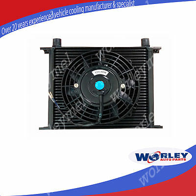 Universal 30 ROW ENGINE TRANSMISSION OIL COOLER + 7 inch ELECTRIC Thermo FAN