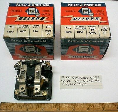 3 Power Relays,110VDC Coils, 15A Cont. Potter&Brumfield PR Series, Lot 120, USA
