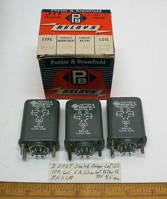 3 Sealed Relays,10K Coils, 5A Cont. Potter&Brumfield # MH11LM, Lot 122, Made USA