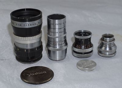 Lot of Four D Mount Cine Lenses Wollensak, Yashica, Kern Paillard