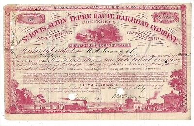 Stk-St. Louis, Alton & Terre Haute RR 1865 All RED Pref. Vig. along the bottom