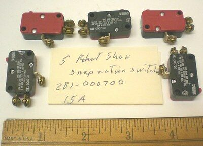 5 Snap Action Switches,15 Amp Sub Miniature ROBERT SHAW #281-000700, Made in USA