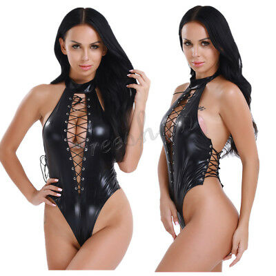 Womens Sexy Leather Leotard One-Piece Leotard Bodysuit Jumpsuit Clubwear Costume