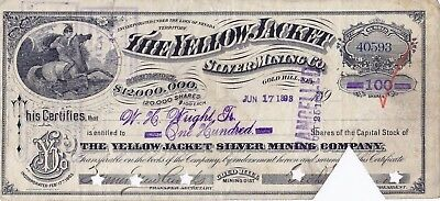 Yellow Jacket Silver Mining Stock Certificate Gold Hill Nevada 100 Shares