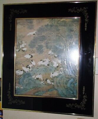 Antique Chinese Stork Painting Print Calligraphy Smoke Glass Frame Panel Cranes!