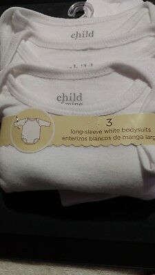 Unisex Toddler 18M White Long-Sleeve White Bodysuites Snap At Crotch Carter's