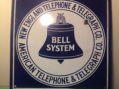 ANTIQUE NEW ENGLAND TELEPHONE &  TELEGRAPH CO PORCELAIN BELL FLANGE SIGN 16 x 16