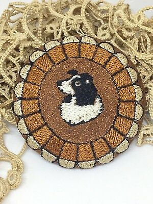 """Large Embroidered Border Collie 2.5"""" Button"""