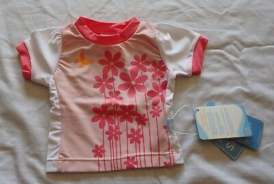 Baby Girls size 00 Pink flowers short sleeve Rash vest UPF50+ White Soda NEW