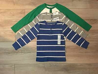 Boys Old Navy Striped Henley Shirt Size 4T LOT OF 3 NWT