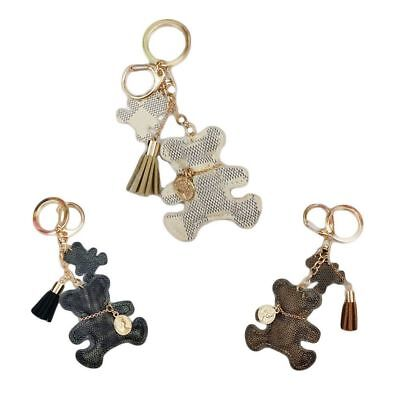 Cute Fashion Bear Leather Tassel Key Ring Car Bag Mini Charm Keychain R7X4V