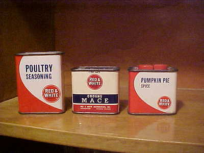 lot of 3 vintage spice tins RED & WHITE ( poultry seasoning, mace, pumpkin pie)